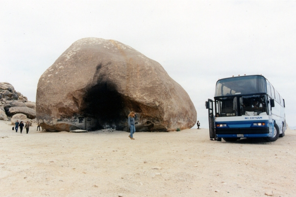 CLUI tour bus at Giant Rock, near Landers, California