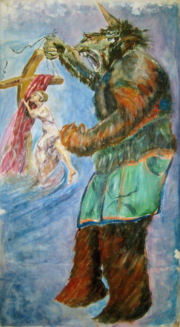 Sister Aimee Pursued by the Beast of Temptation, collaborative painting by students in DH's Painting Workshop at WLAC (Young Summers - main contributor)